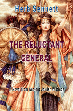 Picture of book cover for The Reluctant General with a man and woman dressed in warrior gear from the Late Bronze Age.